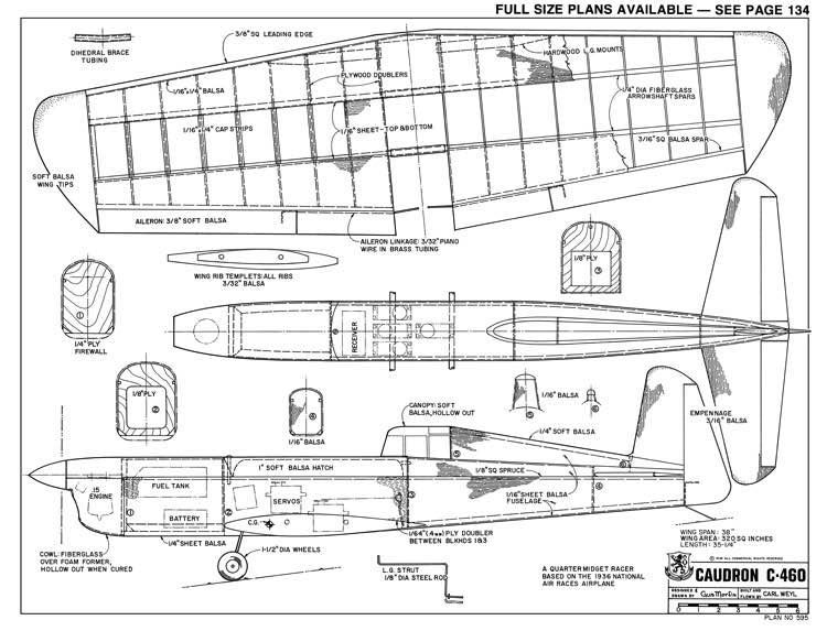 Caudron C-460-RCM-04-75 595 model airplane plan