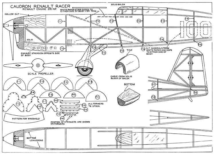 Caudron Renault Racer 1936 Plans - Aerofred