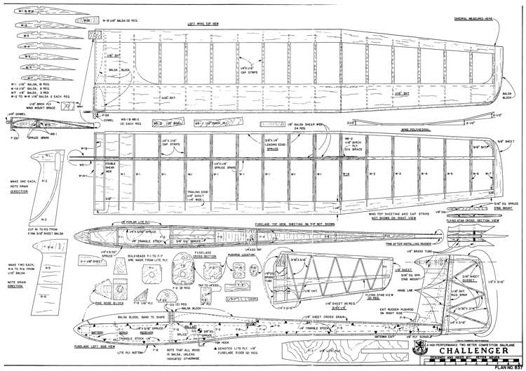 Challenger 2m Sailplane model airplane plan