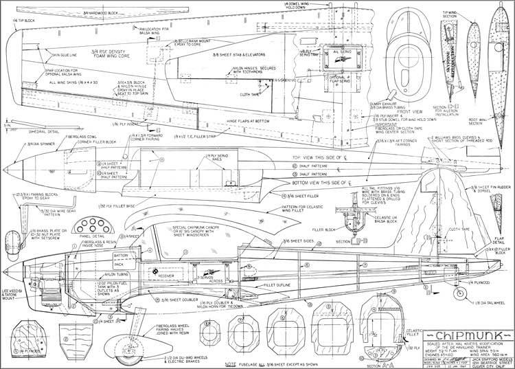 Chipmunk Plans Aerofred Download Free Model Airplane Plans