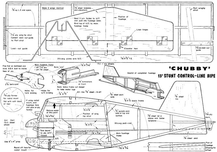 Chubby 13in stunt model airplane plan