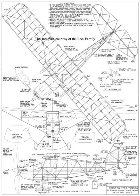 "Champion 7ECA ""Citabria"" model airplane plan"