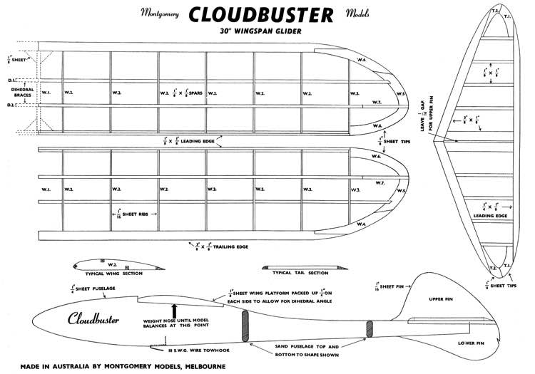 Cloudbuster 30in model airplane plan