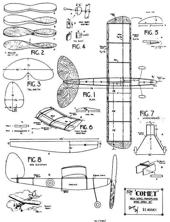 Comet 16in model airplane plan
