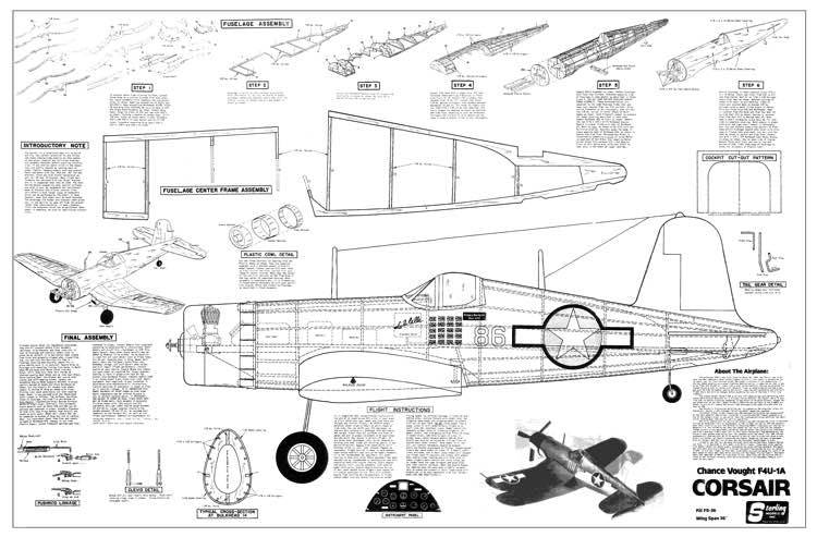 Chance Vought F4u 1a Corsair Plans Aerofred Download