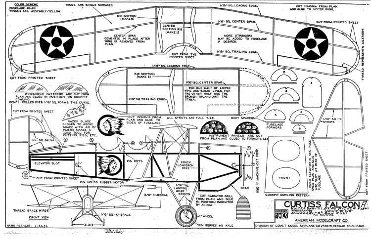 Curtiss Falcon model airplane plan