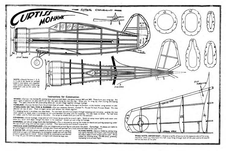 Curtiss Mohawk astral 12in model airplane plan