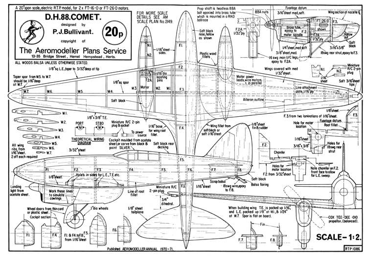 DH-88 Comet-1 model airplane plan