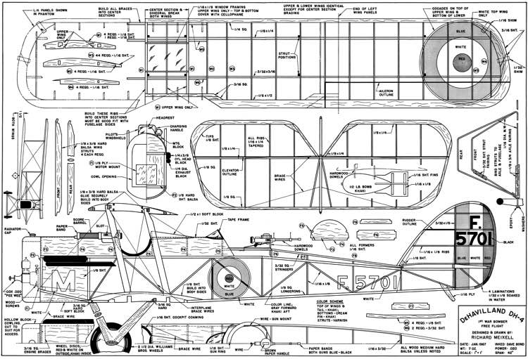 DH 4 42in model airplane plan