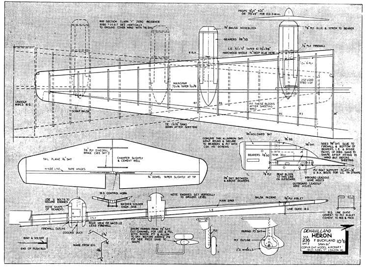 DH Heron model airplane plan