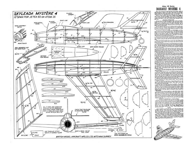 D Assault Mystere 4 model airplane plan