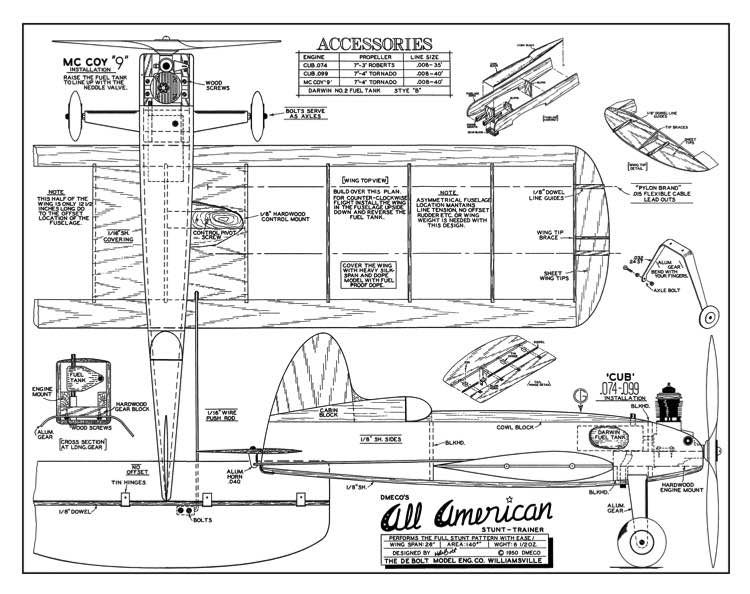 DeBolt All American model airplane plan