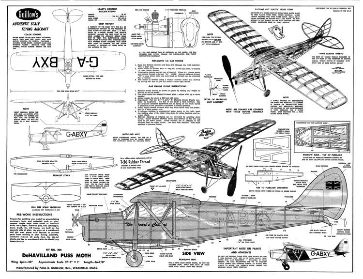 DeHavilland 80A Puss Moth model airplane plan