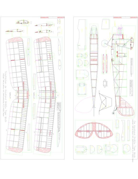 De Havilland DH82a Tiger Moth Layout1 1 model airplane plan