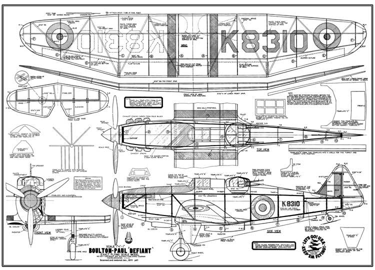 Defiant Ace Whitman model airplane plan