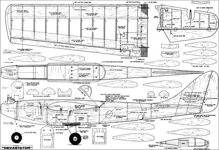Devastator RC model airplane plan