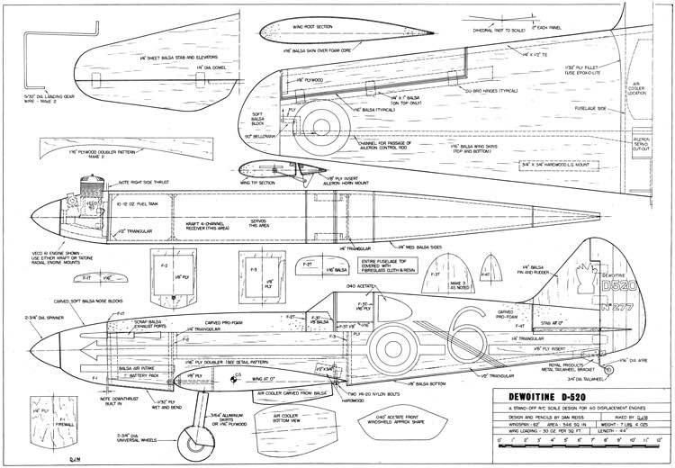 Dewoitine d 520 plans aerofred download free model for 520 plan