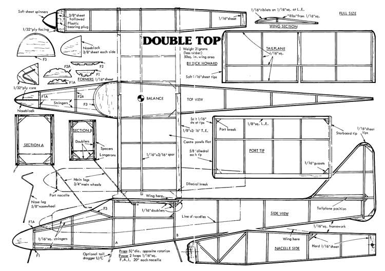DoubleTop model airplane plan