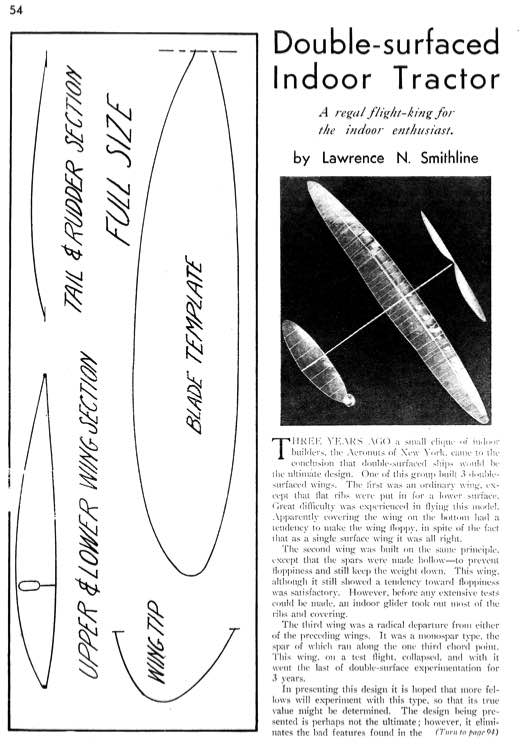 Double Surfaced Indoor Tractor model airplane plan