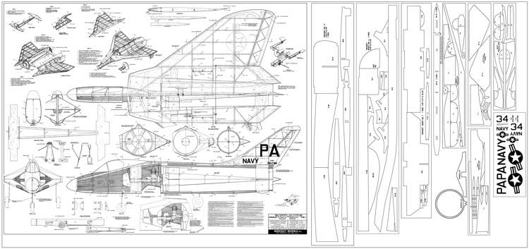 Douglas F4D-1 Skyray model airplane plan