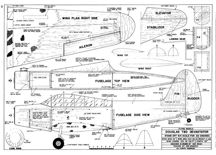 DouglasTBD Devastator model airplane plan