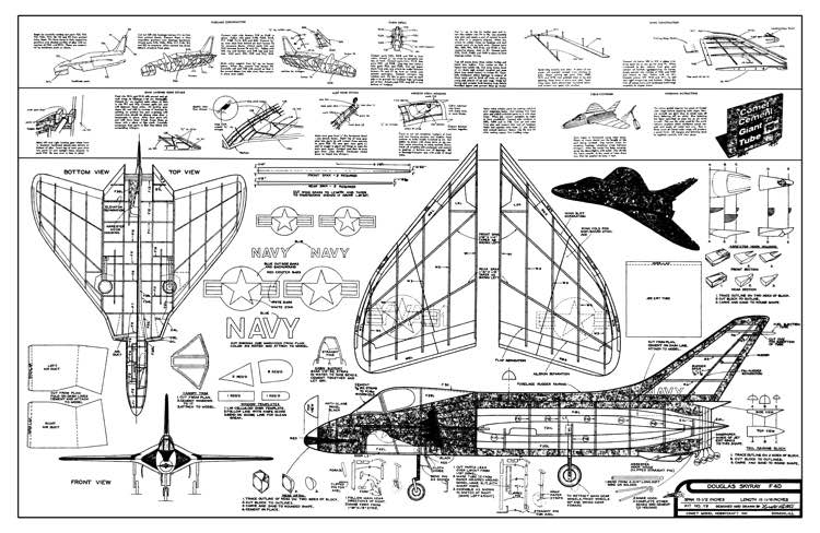Douglas F4D Skyray - jet by Comet model airplane plan