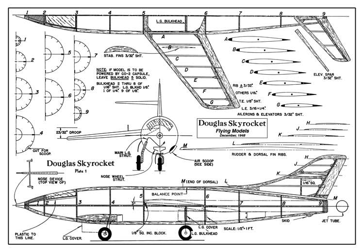 Douglas Skyrocket - jet from December 1948 Flying Models model airplane plan