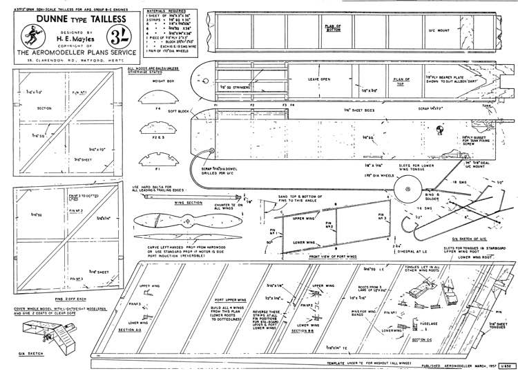 Dunne Tailess model airplane plan