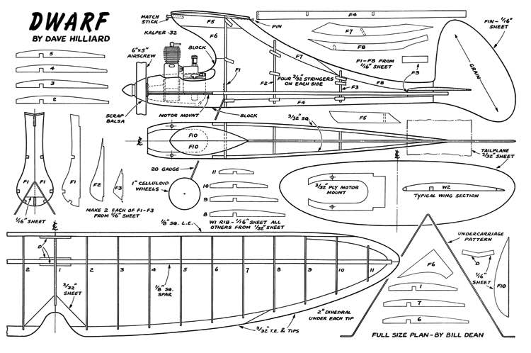 Dwarf 1949 model airplane plan