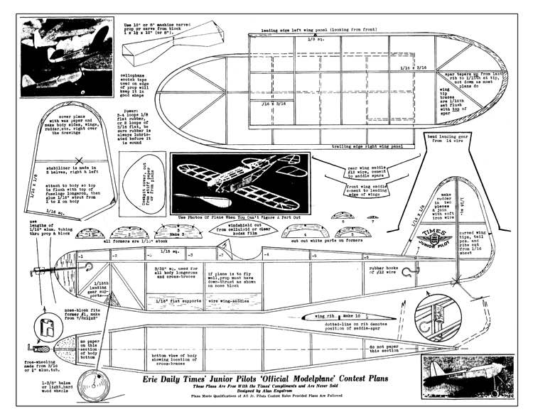 Erie Daily Times model airplane plan