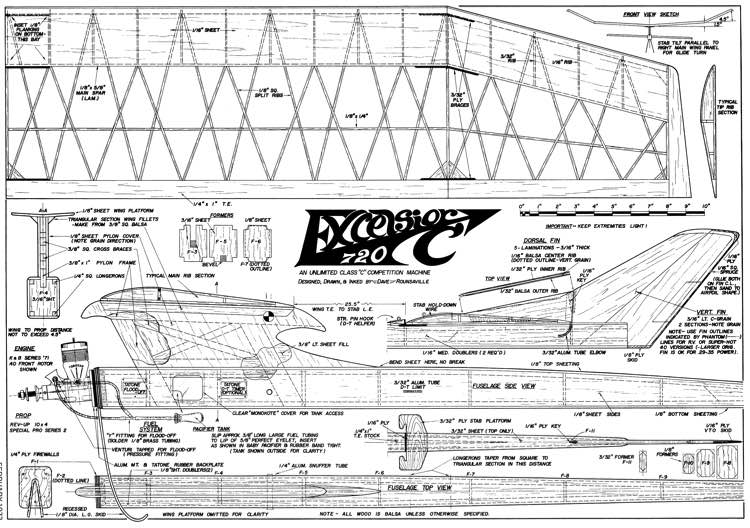 Excelsior720 model airplane plan
