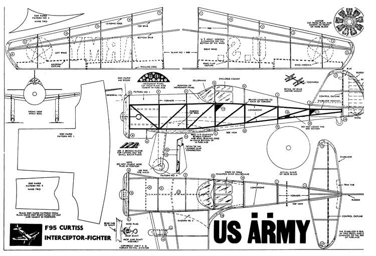 F-95 Curtiss model airplane plan