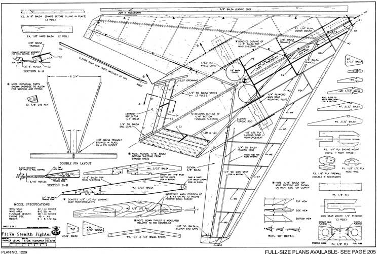 F117a Stealth Fighter 2 model airplane plan