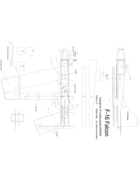 F16 Falcon Model 1 model airplane plan