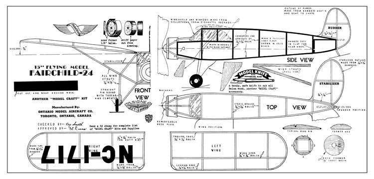 Fairchild 25 model airplane plan