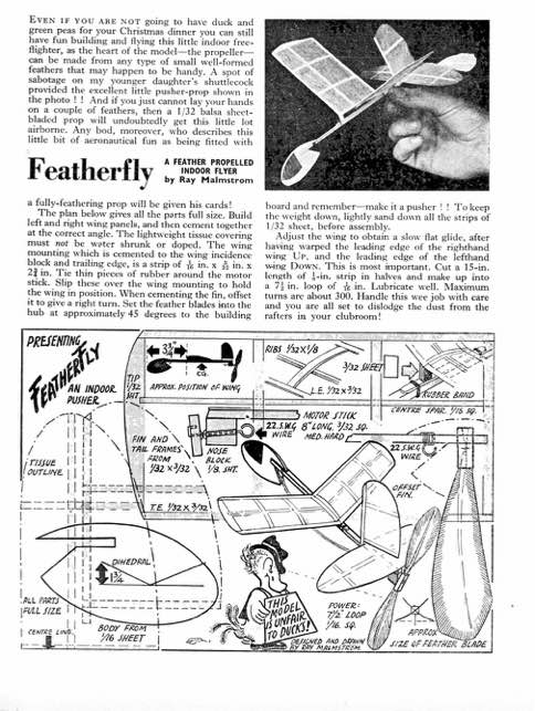 Featherfly text and plan model airplane plan