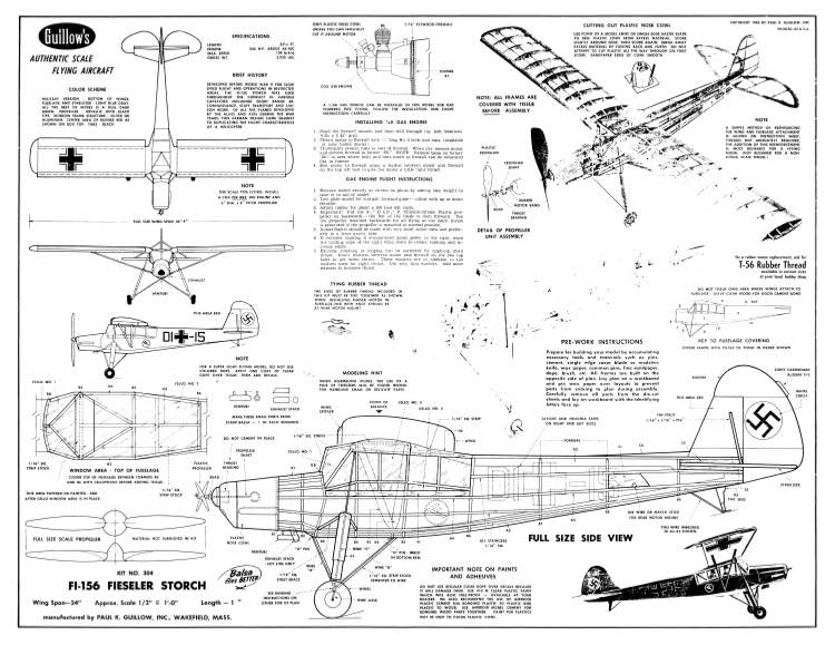 fieseler storch guillows plans - aerofred