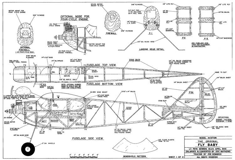 Fly Baby 72in model airplane plan