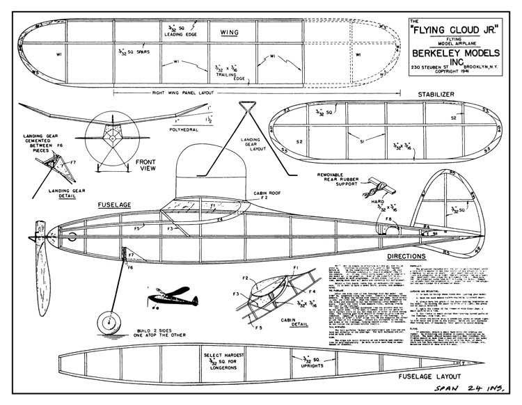 Flying Cloud Jr model airplane plan