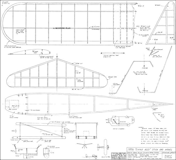 Flying Aces Stick 60in Skystone model airplane plan
