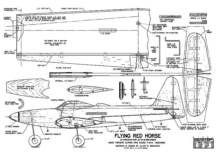 Flying Red Horse P-63 KingCobra model airplane plan