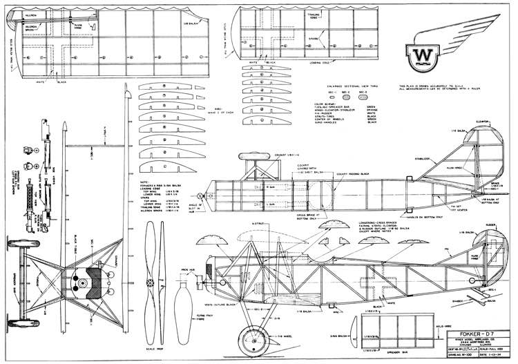 Fokker DVII model airplane plan