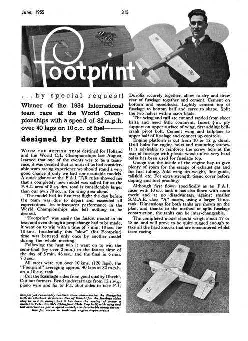 Footprint model airplane plan