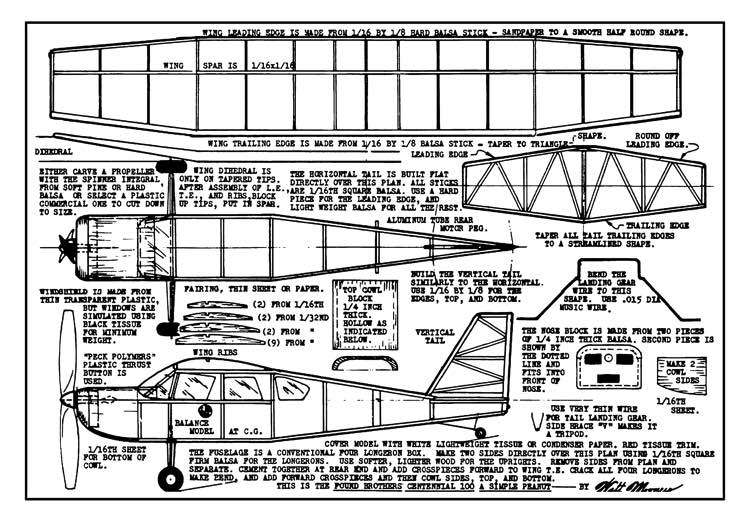 Found Centennial 13in model airplane plan