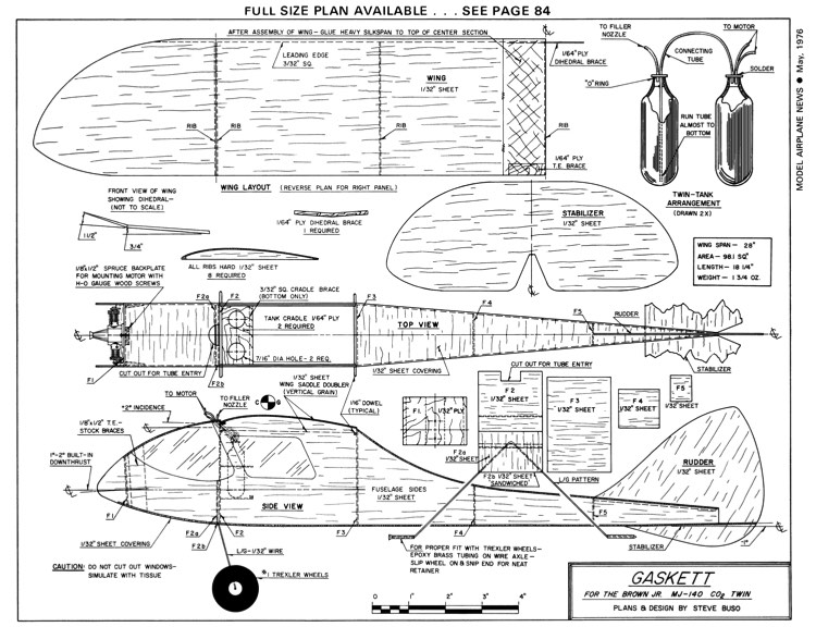 Gaskett-MAN-05-76 model airplane plan
