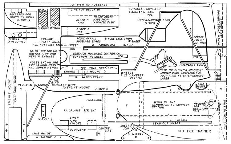 Gee-Bee CL model airplane plan