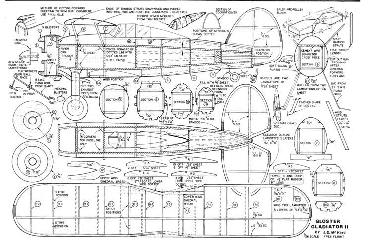Gloster Gladiator 2 model airplane plan