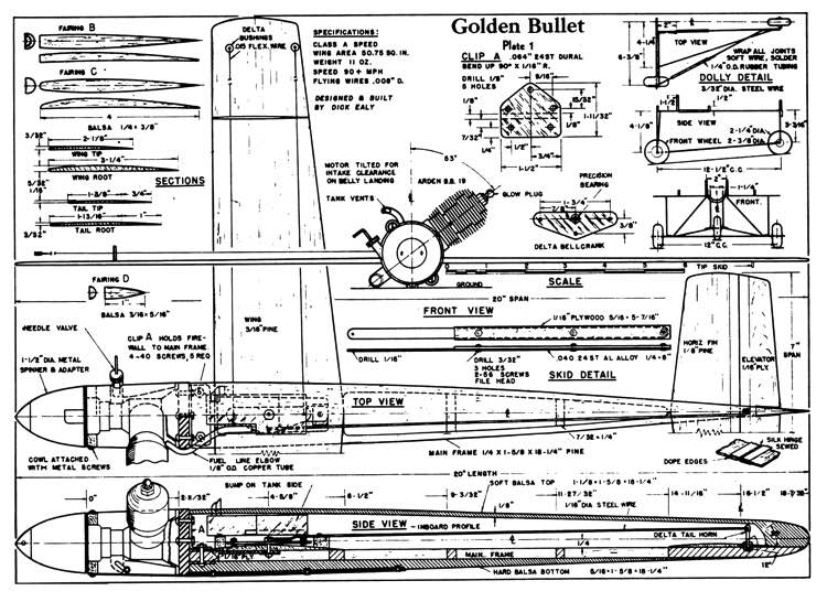 Golden-Bullet model airplane plan