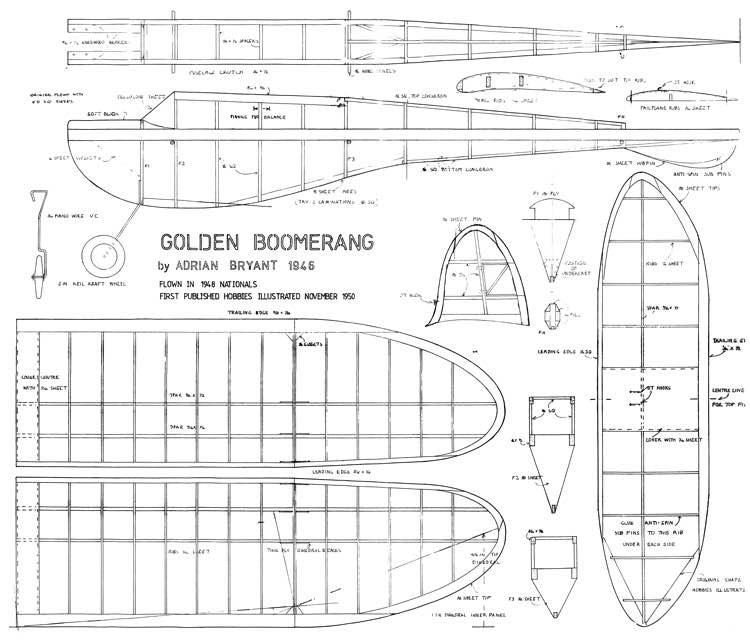 Golden Boomerang 1946 model airplane plan