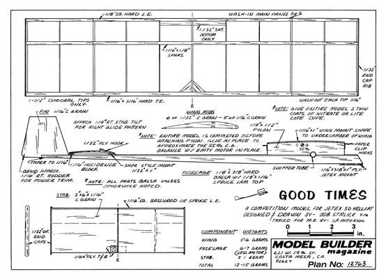 Good Times model airplane plan